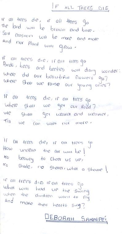 Deborah Sanaipei If All Trees Die poem Namelok Nov 2014
