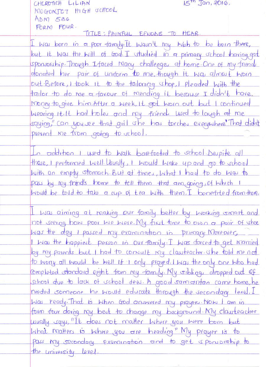 Lilian Cherotich 6th Comp 1st Pl essay Mogonjet May 2016