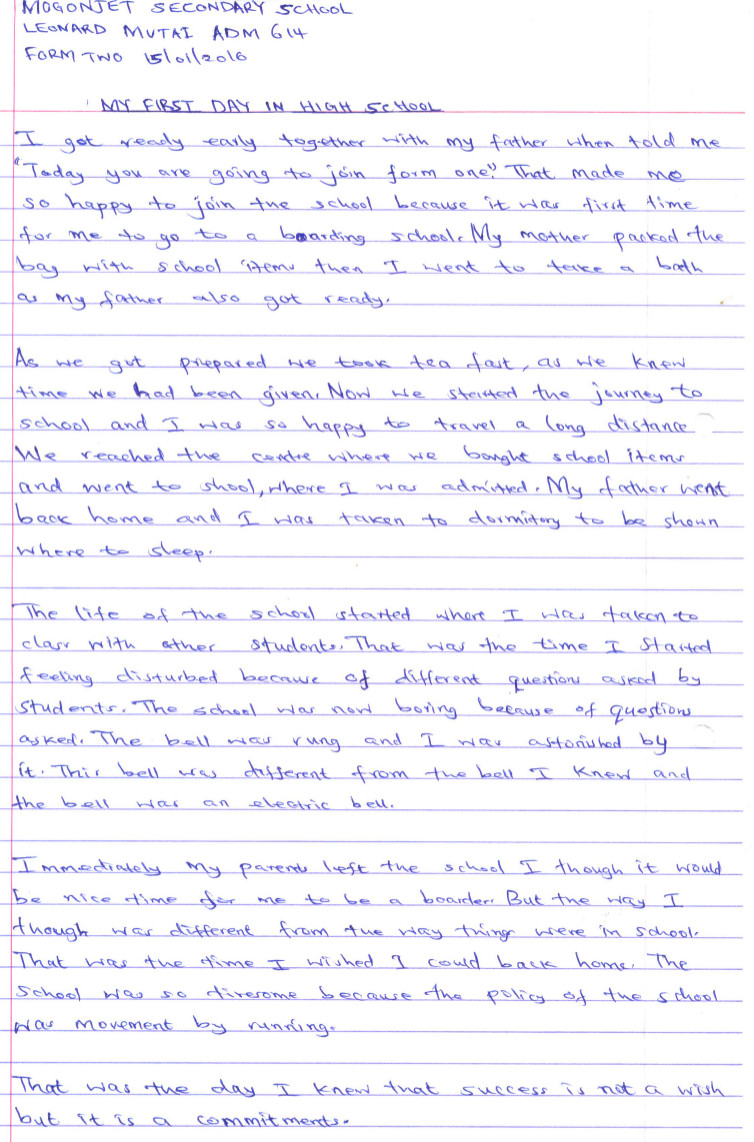 Leonard Mutai 6th Comp 2nd Pl essay book Mogonjet Aug 2016