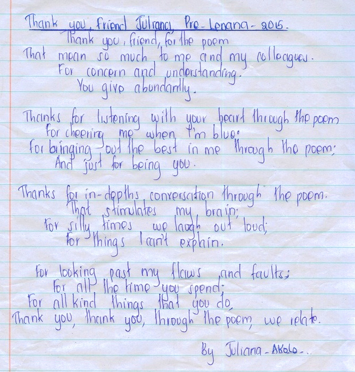 Juliana Akolo poem to Lilly Lenana Nov 2015