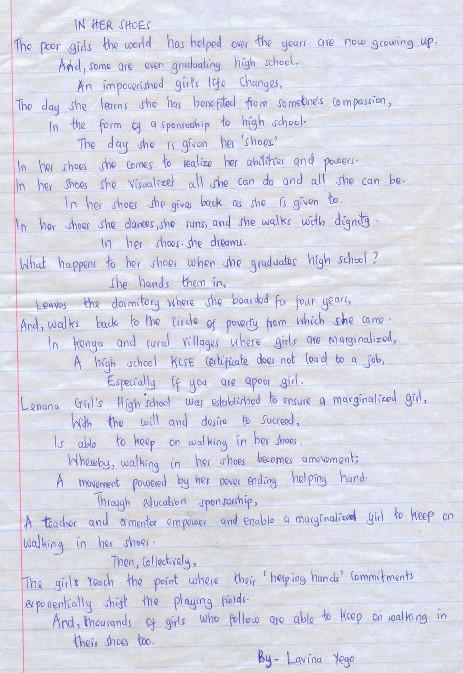 Lavina Yego In Her Shoes poem Lenana Dec 2014
