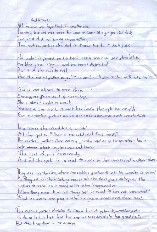 Purity Momanyi Restless poem Ariel Lenana Jan 2015
