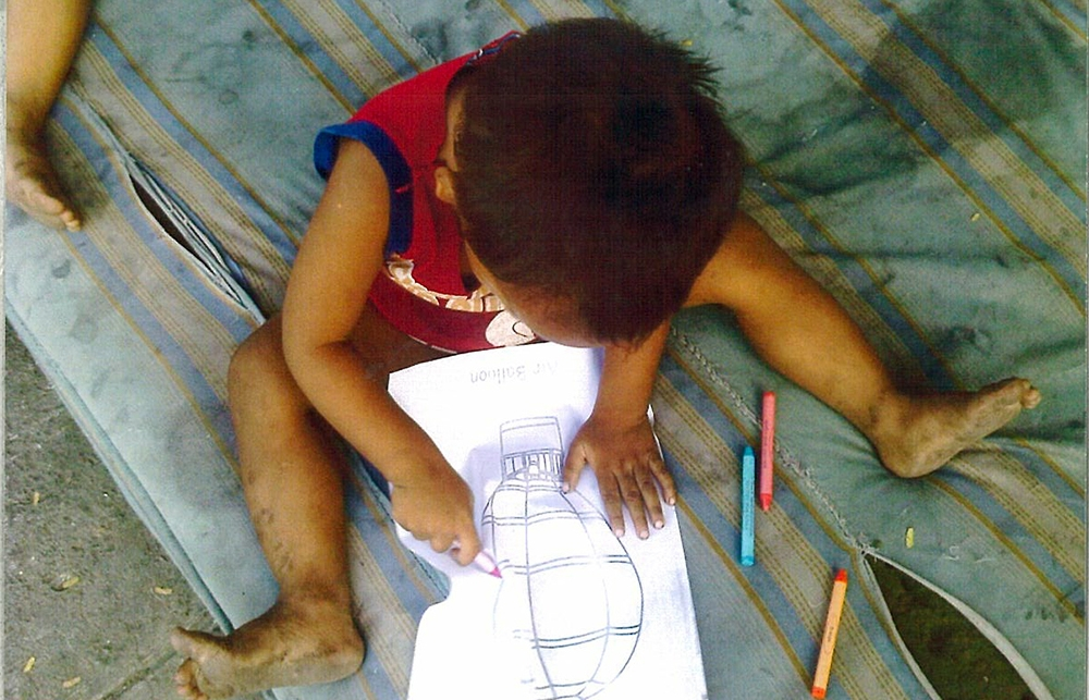 School in a cart kid drawing