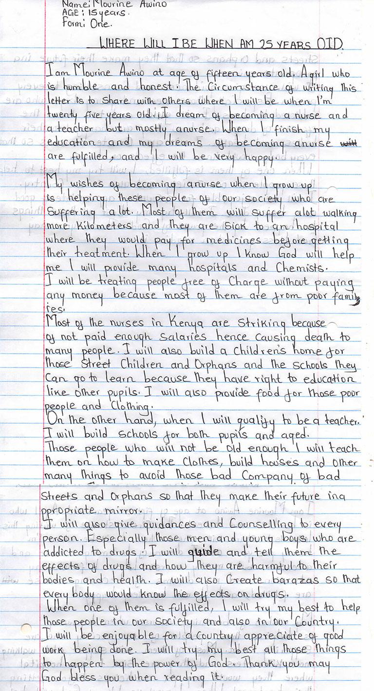 where will i be at 25 yrs of age - mourine awino - Lenana girls school - Kenya